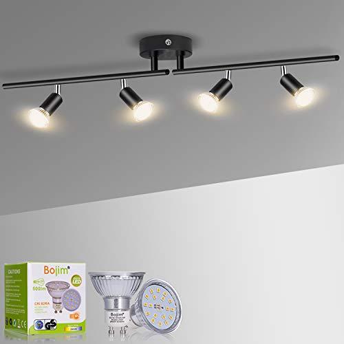Bojim Lámpara de Techo LED 4 Focos Mate Negro, focos ajustables y giratorios para Cocina Dormitorio Sala de Estar, 2800K Blanco Cálido 6W GU10 220V-240V IP20 600lm, barra de focos, Bombillas Incluidas