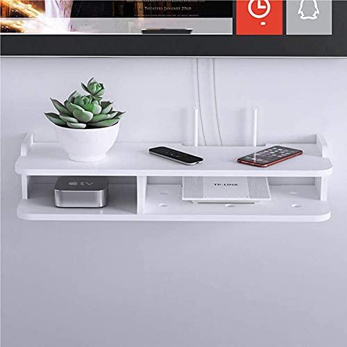 XLBHSH Router WiFi Inalámbrico Caja de Almacenamiento Estante de Madera Y Plástico Soporte Colgante de Pared Almacenamiento de Cable Decoración para El Hogar,Blanco