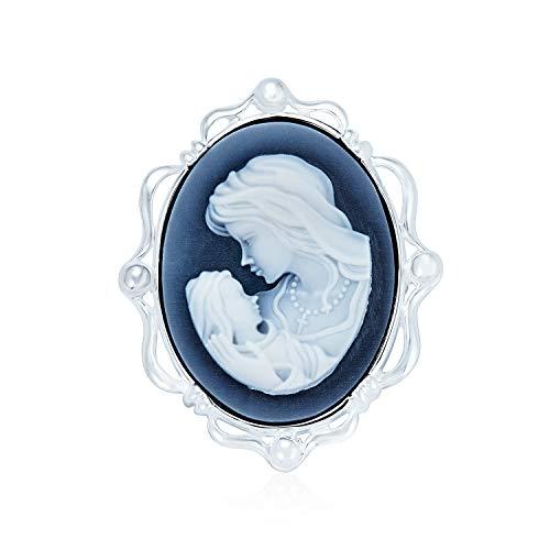 Familia 2 en 1 Vintage victoriano estilo antiguo azul tallado Cameo madre amor broche pin y colgante para las mujeres para las madres 925 plata de ley