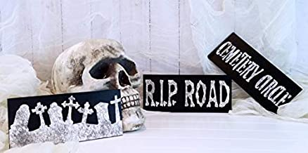 Halloween Cemetery Set Cemetery Sign Tombstone Graveyard Sign Rip Sign Halloween Decor Halloween Craft Supplies Funny Quote Plaque Home Craft Sign for Women Men