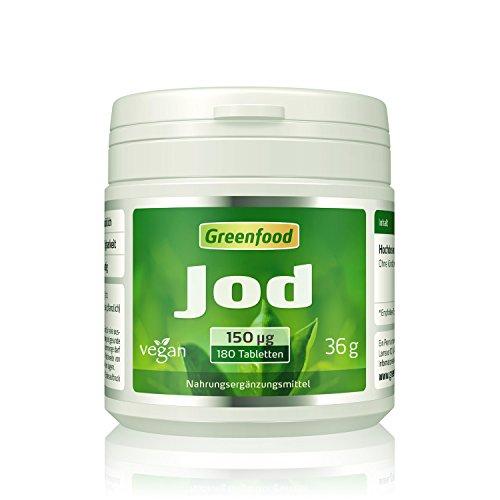Jod, 150 µg, normaler Tagesbedarf, 180 Tabletten, vegan – wichtig für eine normale Schilddrüsenfunktion, Hormonhaushalt und Nervensystem. OHNE künstliche Zusätze. Ohne Gentechnik.