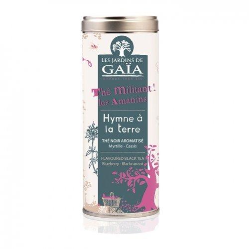 JARDINS DE GAÏA - Hymne à la Terre ( Thé Militant Les Amanins) Tube 100 g - Thé Noir aromatisé Myrtille - Cassis.