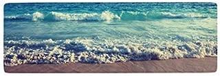 Ihome888 Ocean Beach Waves Bath Mats and Rugs, Flannel Fabric Non Slip Rubber Backing Bathroom Rug Kitchen Rug, 48L x 16W Inch, Blue Brown