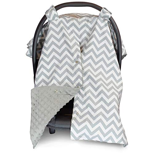 Car Seat Canopy and Nursing Cover Up with Peekaboo Opening - Chevron Grey