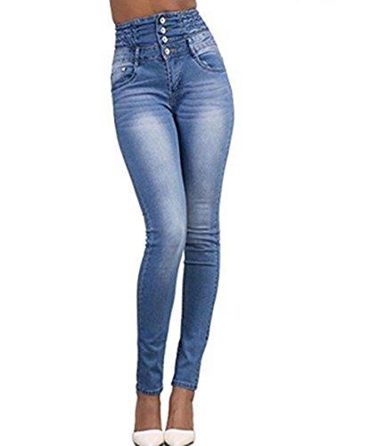LAEMILIA Damen Jeans mit Hoher Taille Stretch Dünn Skinny Hose Slim Fit Jeanshose