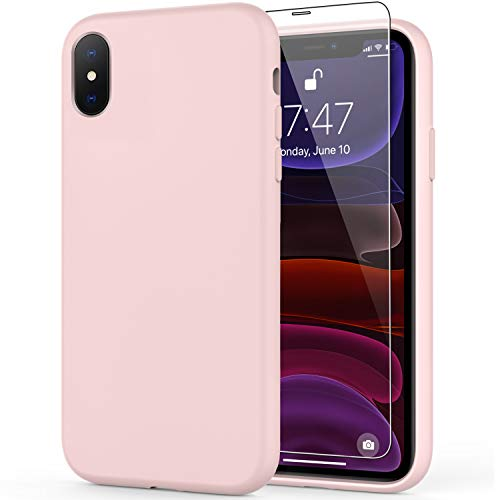 DEENAKIN iPhone Xs Max Case with Screen Protector,Soft Liquid Silicone Gel Rubber Bumper Cover,Slim Fit Shockproof Protective Phone Case for iPhone Xs Max Light Pink