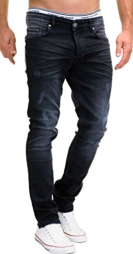 MERISH Jeans Herren Slim Fit Stretch Hose Jeanshose Denim 9148 (31-32, 9148 Schwarz)