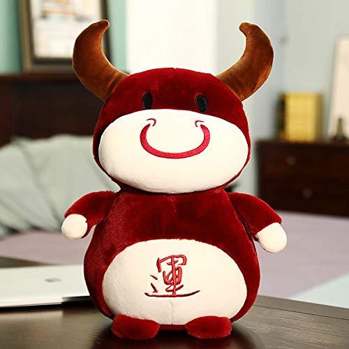 CPFYZH 32-55Cm Fortune Bull Plush Toy Good Fortune Bull Doll Chinese Zodiac Bull Year Mascot Doll-Wine Red-Fortune Bull_45Cm 0.55Kg