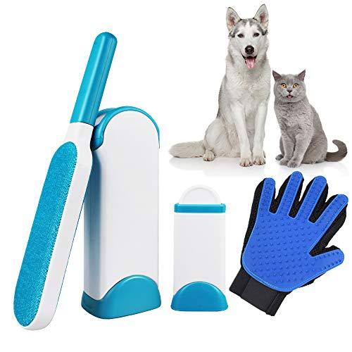 chudian Removedor de Pelo de Mascotas, 2 X Cepillo para Mascotas, 1 X Base Autolimpiante, 1 X Guante para Mascotas, para la Ropa Alfombra Muebles de Sofá (Azul)