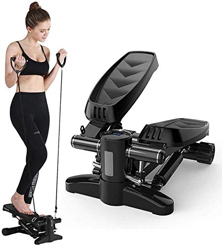 RVTYR Aerobic Fitness Step Air Stairs Climber Stepper Trainingsmaschine Ausrüstung Lateral Twist Stepper mit Resistance Cords, Schwarz ministepper mit handgriff