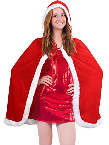 Christmas Cloak Santa Claus Cloak Velvet Hooded Cape Costume in Red for Women (100 cm)
