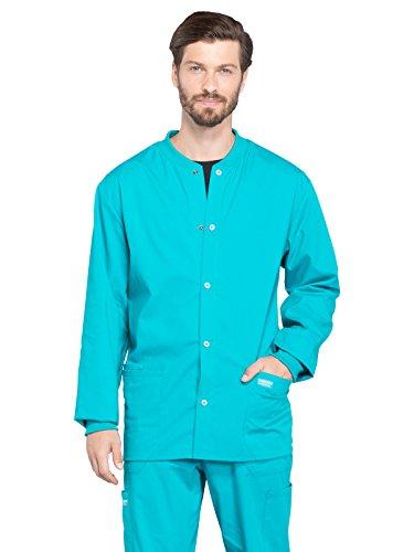 CHEROKEE Workwear WW Professionals Mens Men's Snap Front Jacket, WW360, L, Teal Blue