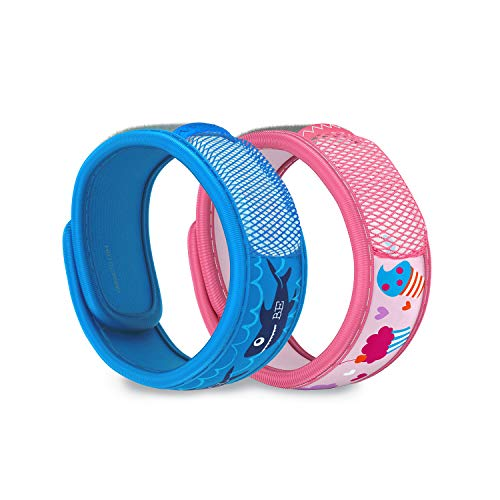 PARA'KITO Mosquito Repellent Pack - 2 Kids Wristbands & 2 Refills (Be Cool + Cupcake)