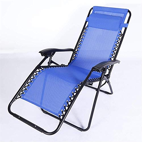 YVX Sun Lounger Garden Chairs with Pollow,Deck Folding Recliner Zero Outdoor Chair Made from Steel Frame For Patio Pool (Color : Blue, Size : 68 * 92 * 115cm)
