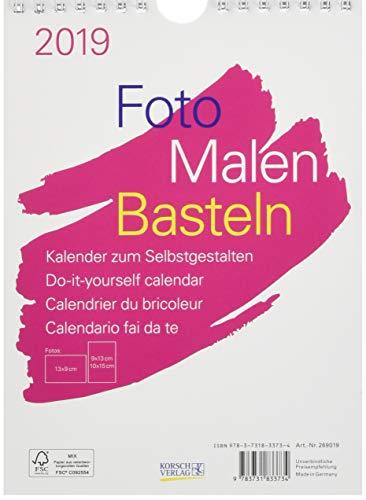 FMB weiß 15 x 21 269019 2019: Fotokalender zum Selbstgestalten. Aufstellbarer do-it-yourself Kalender mit festem Fotokarton.