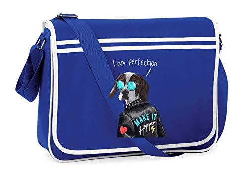 Druckerlebnis24 Schultertasche - Hund Lederjacke Sonnenbrille Herz - Umhängetasche, geeignet für Schule Uni Laptop Arbeit