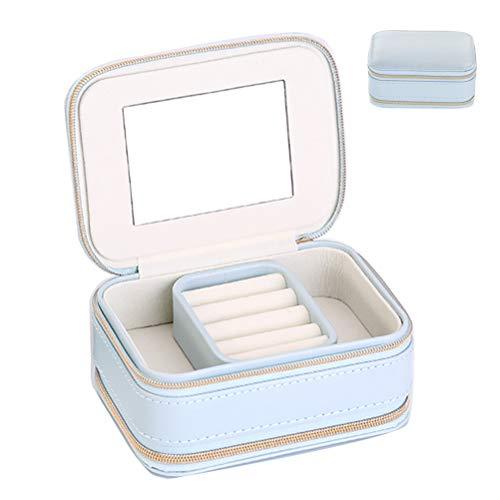 HKHJ Estuche Joyero Pequeño, Mini Caja Almacenamiento Portable para Joyería, Organizador de Viaje con Espejo Portátil Caja para Joyas Collares Pendientes Aretes Pulseras Anillos,Azul