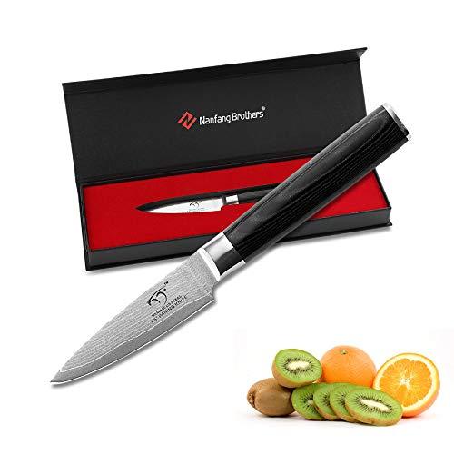 NANFANG BROTHERS Damaskus Gebrauchsmesser 5,5 Zoll, 67 Schichten VG-10 Edelstahl Ultra Sharp Messer, Küchenmesser, Flecken- und Korrosionsbeständige Kochmesser