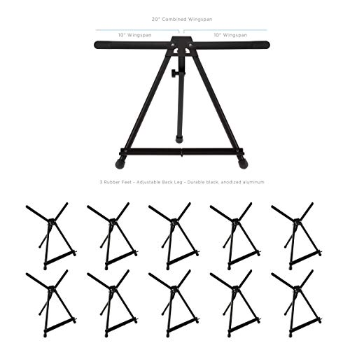 SoHo Urban Artist Table Top Easel - Lightweight Table Top Studio Artist Easel for Travel & Display No Assembly with Carrying Case - Black Anodized Aluminum [10-Pack]
