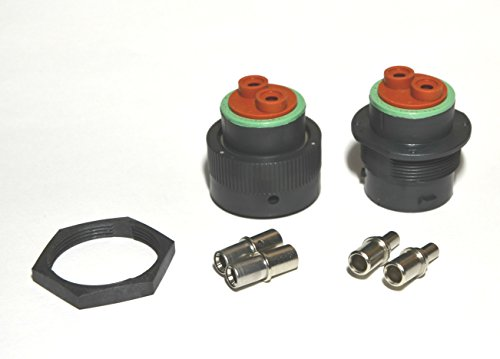 Deutsch HDP20 Bulkhead 2-pin Connector kit, 4 AWG Solid Contacts (Made in USA)