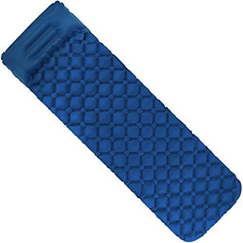 ALPIDEX Isomatte Camping Aufblasbar mit Kissen, Luftsack zum Aufpumpen Ultraleichte rutschfeste Schlafmatte Luftmatratze, Farbe:Blue