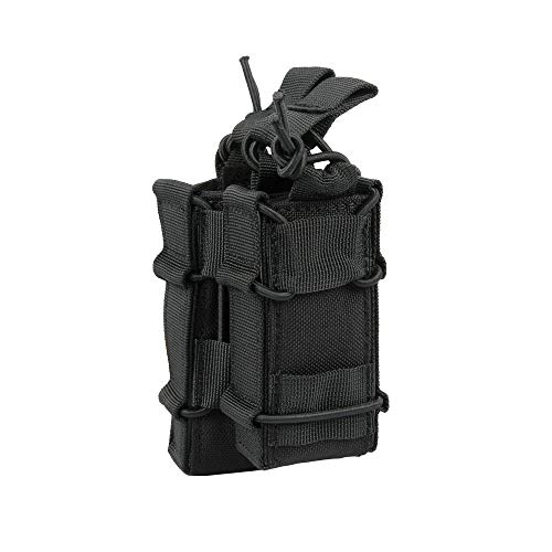 EXCELLENT ELITE SPANKER Open-Top Rifle Mag Pouch for M4 M16 AR15 Magazines with 1911 HK45 Glock Pistol Mag Pouch (Black)