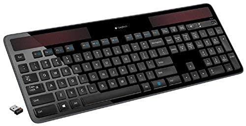 Logitech K750 Wireless Solar Keyboard for Windows Solar Recharging Keyboard Black, Not for Mac (Windows Black)