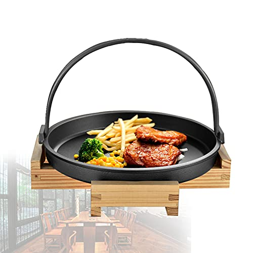 S-pomy Cast Iron Steak Skillet Serving Plate with Wooden Board 2 Kit, Cast Iron Griddle for Gas Grill, Steak Plates Set Restaurant Serving or Home Use, Non-Stick Surface