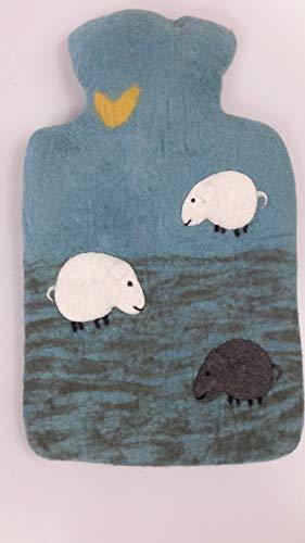 feelz - Wärmflasche Schlaf gut Schäfchen Filz Wolle (Merino) Wärmflaschenbezug Handarbeit - Fairtrade