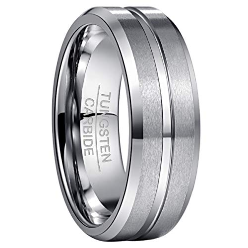 NUNCAD 8mm Silver Matte Finish Tungsten Wedding Ring Wedding Engagement Band for Men Women Comfort Fit Size R 1/2