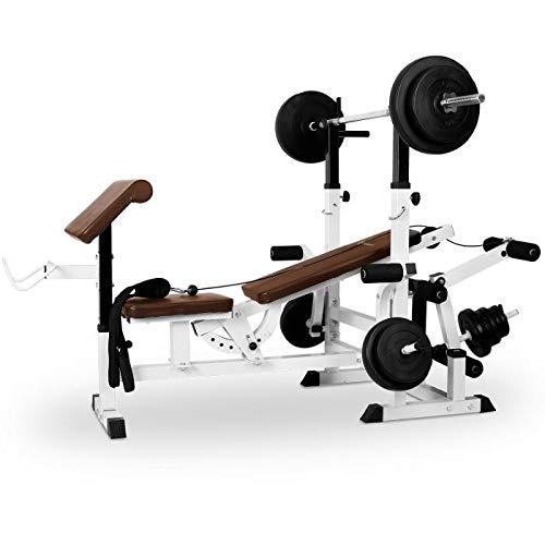 Klarfit FIT-KS02 Banco de Musculación con Curler y Set de Pesas - Entrenamiento para Cuerpo Entero, Butterfly, 280 kg de Carga máxima, Fácil Montaje, Respaldo Ajustable, Cable polea, Blanco