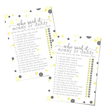 Yellow Grey Mommy Daddy Game  25 Pack  Baby Shower Guessing Who Activity Cards Guest Play – Mama to Bee Party Supplies – Gender Reveal - Boy Girl