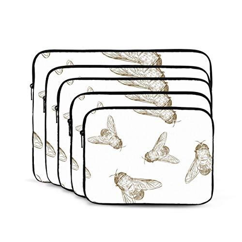 KUUDJIT Hand Drawn Honey Bees 12/13/15/17 Inch Laptop Sleeve Bag for MacBook Air 13 15 MacBook Pro Portable Zipper Laptop Bag Tablet Bag,Diving Fabric,Waterproof