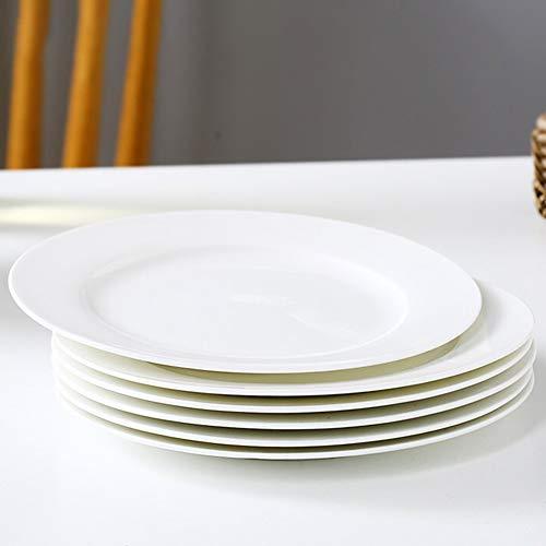 WBHZ Juegos De Platos De Porcelana De Porcelana En Hueso, Vajilla, para La Cocina Y El Comedor del Hogar Platos De Almuerzo/Platos De Frutas/Platos De Refrigerios,6 Flat Plates,8in