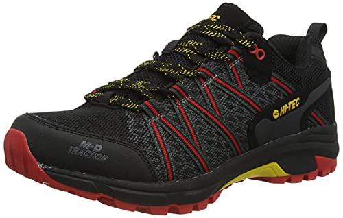 Hi-Tec Serra Trail-Black/Molten Lava/Spectra Yellow Uk11, Zapatos para Senderismo Hombre, 45 EU