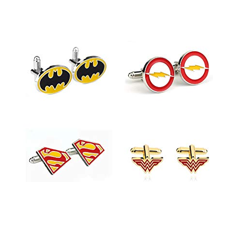 NERDVERSUS Superhelden-Manschettenknöpfe, Geschenk Hochzeit, 4er Set Batman Superman The Flash and Wonderwoman DC Collection