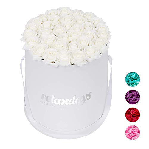 Relaxdays Rosenbox r&, 34 Rosen, stabile Flowerbox weiß, lange haltbar, Geschenkidee, dekorative Blumenbox, weiß, 33 x 32 x 32 cm