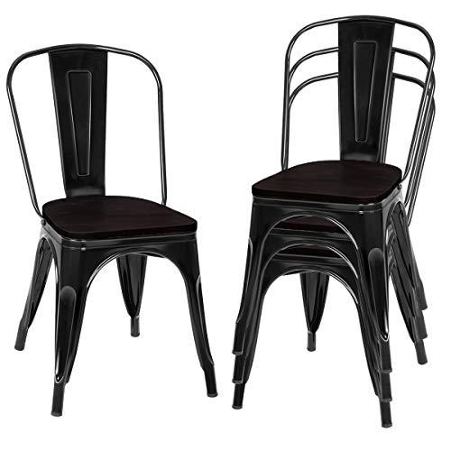 COSTWAY 4er Set Esszimmerstuhl, Bistrostuhl aus Metall, Barhocker stapelbar, Metallstuhl bis 120kg belastbar (Schwarz)