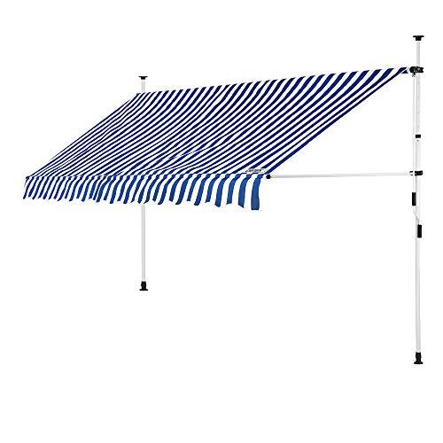 DeTeX Klemmmarkise 250 cm breit höhenverstellbar Blau Weiß Handkurbel UV-beständig wasserabweisend Balkonmarkise Markise