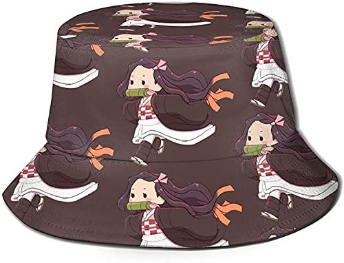 KEROTA Demon Slayer Kawaii Bucket Hat Summer Travel Packable Fisherman Sombreros para exteriores, para niños, color negro