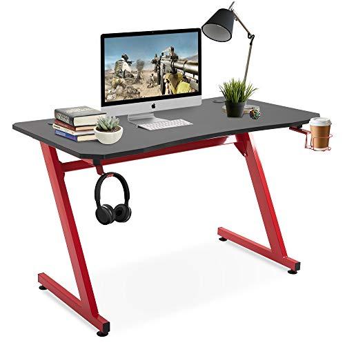 HOMCOM Gaming Tisch, Schreibtisch mit Headsethalterung, Z-förmige Computertisch, PC tisch mit Kabelmanagement und Getränkehalterung, MDF, Schwarz+Rot, 120 x 65 x 74,5 cm