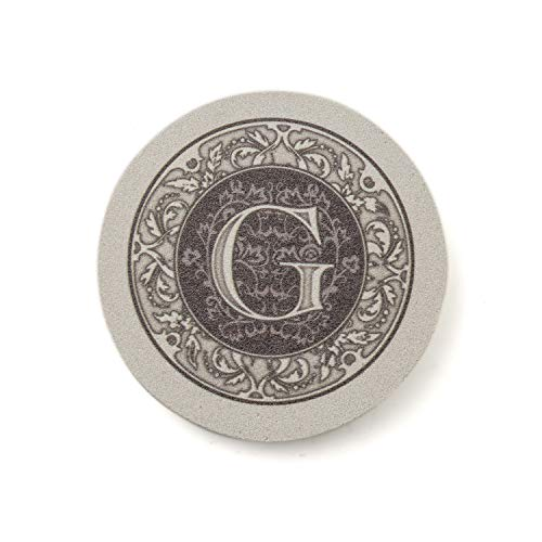 Thirstystone Absorbent Monogram Sandstone Coaster Set, Letter G