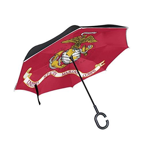 ETGeed Paraguas invertido Personalizado US Marine Corps Flag Reverse Umbrella