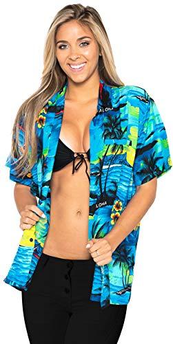 LA LEELA Blusa Playa Hawaiano Ocasional del Bolsillo botón Aloha la Manga Corta de Las Mujeres S - ES Tamaño :- 42-44 Azul del Trullo_W932