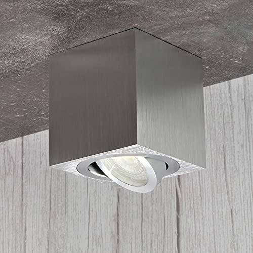 JVS Aufbauleuchte Aufbaustrahler Deckenleuchte Aufputz Led Milano GU10 Fassung 230V Eckig Silber Schwenkbar Deckenleuchte Strahler Deckenlampe Aufbau-lampe CUBE Downlight aus Aluminium