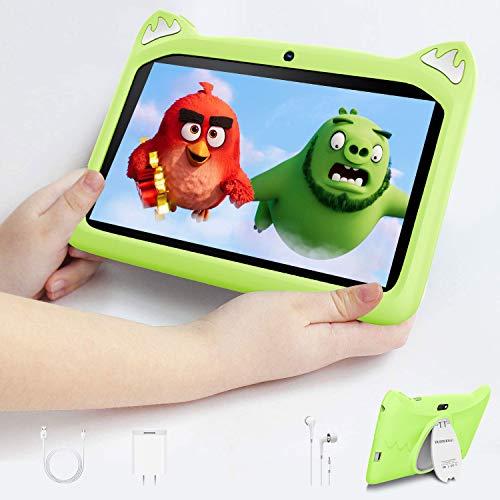 Tablet para Niños con WiFi 7 Pulgadas, Android 10 Tablet Infantil, 3GB RAM y 32GB ROM y 128GB Expansión, Quad-Core 1.5Ghz, WiFi, Bluetooth, Tablet PC Netflix Juegos Educativos (Verde)
