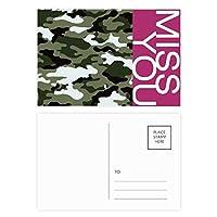 カモフラージュラインアートの穀物のイラストパターン ポストカードセットサンクスカード郵送側20個ミス
