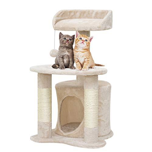 GLAF ネコタワー キャットタワー 猫タワー 爪とぎ 広い展望台 ストレス解消 猫用 キャット 安定性抜群 組立簡単 据え置きタイプ 猫ハウス 天然サイザル麻 猫 遊び場 頑丈耐久 (ベージュ)