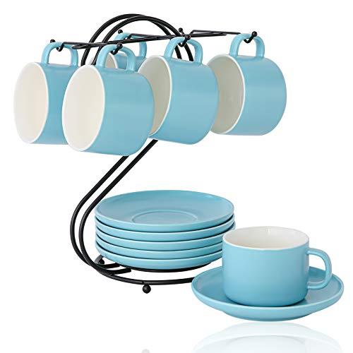 Juego de Tazas de Cafe de Cerámica (220ml) con Platillo y Portavasos, Candiicap Tazas de Capuchino para Capuchino, Latte, Espresso, Americano, Té(220ml,Azul Mate)