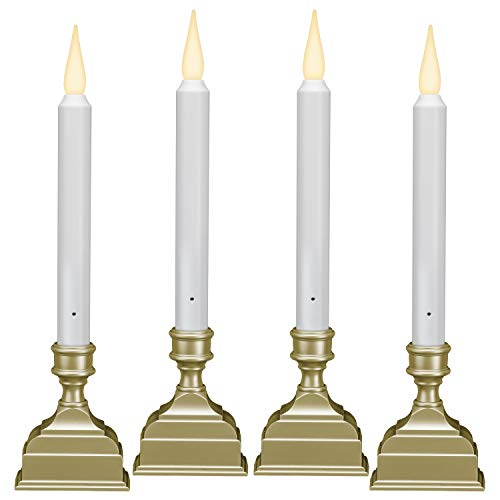 612 Vermont Battery Operated LED Window Candle with Sensor and 8 Hour Timer, Patented Dual LED Flicker Flame (Pewter)